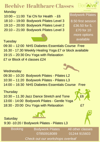 pilates yoga chigong class chester timetable