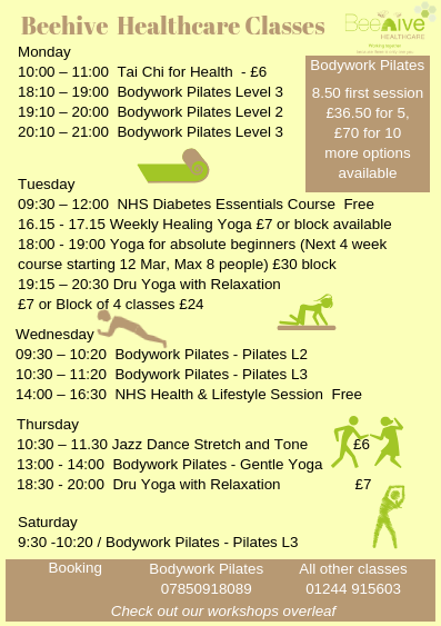 Beehive Class Timetable
