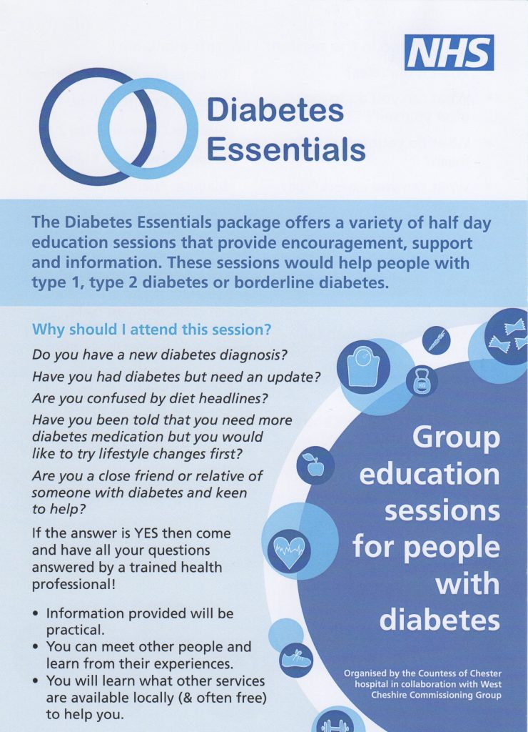 Free Diabetes Essentials Sessions informatinon leaflet p 1